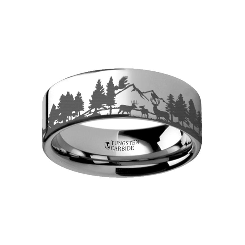 Animal Landscape Scene - Reindeer Deer Stag Mountain Range Ring - Laser Engraved - Flat Tungsten Ring - 4mm - 6mm - 8mm - 10mm - 12mm - AydinsJewelry