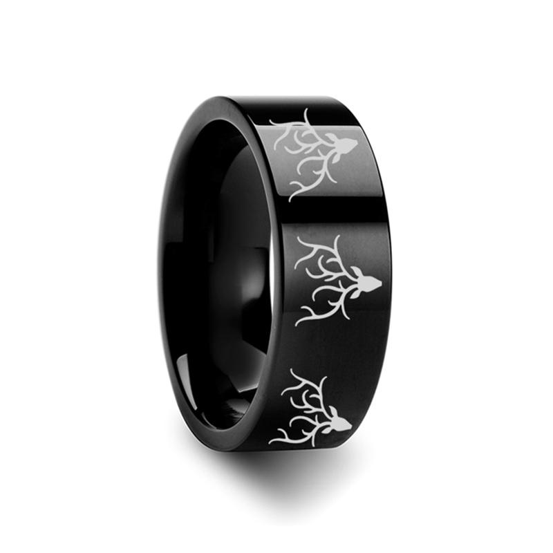 Animal Design Ring - Reindeer Deer Stag Head Print -  Laser Engraved - Flat Tungsten Ring - 4mm - 6mm - 8mm - 10mm - 12mm - Rings - Aydins_Jewelry