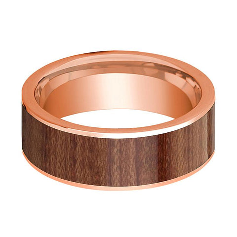Image of Men's Flat 14k Rose Gold Wedding Band with Rose Wood Inlay Polished Finish - 8MM