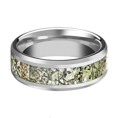 BYTE Light Green Dinosaur Bone Tungsten Wedding Band - AydinsJewelry