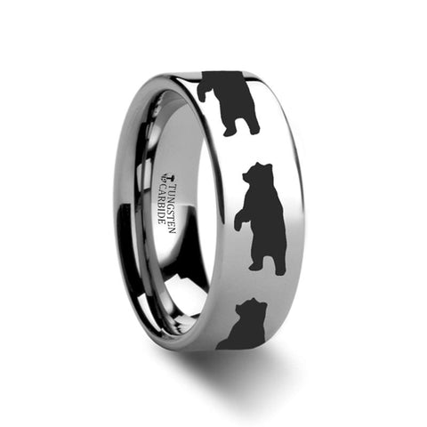 Image of Flat Polished Tungsten Carbide Wedding Band for Men and Women with Laser Engraved Standing Bear Print - 4MM - 12MM - Rings - Aydins_Jewelry