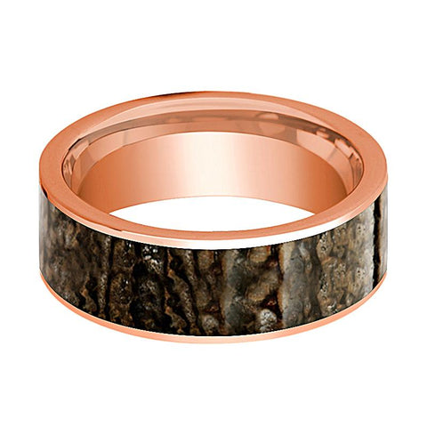 Image of Dinosaur Bone Ring - Brown Dinosaur Bone - Flat Polished 14K Rose Gold - Polished Finish - 8mm - 14k Rose Gold Wedding Ring - AydinsJewelry