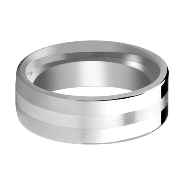 Flat Tungsten Wedding Band with Sterling Silver Inlay Polished Finish - 6mm - 8mm - Rings - Aydins_Jewelry