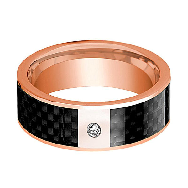 14k Rose Gold Men's Flat Wedding Ring with Black Carbon Fiber Inlay & Diamond - Rings - Aydins_Jewelry