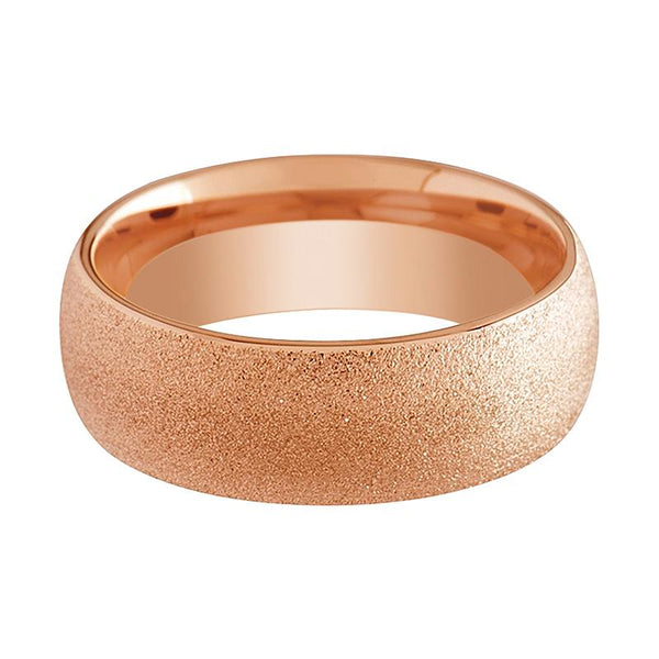 Domed Tungsten Rose Gold Couple Matching Wedding Ring with Sandblasted Crystalline Finish - 2MM - 4MM - 8MM - Rings - Aydins_Jewelry