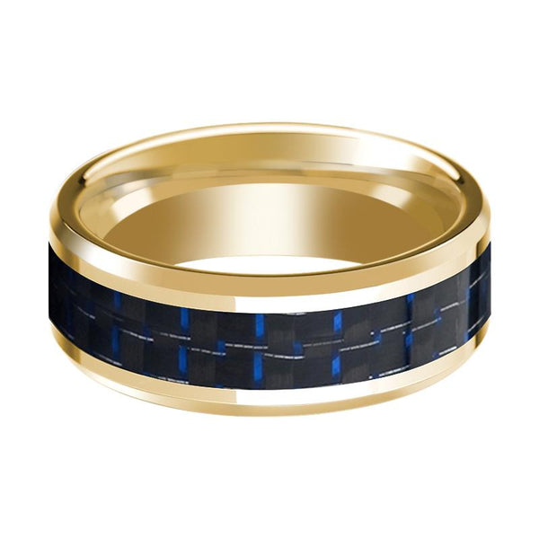 Men's Polished 14k Yellow Gold Wedding Band with Blue & Black Carbon Fiber Inlay & Bevels - 8MM