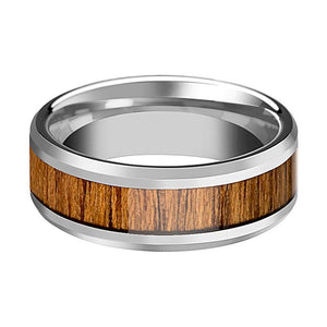 Tungsten Wood Ring - Teak Wood  - Tungsten Wedding Band - Polished Finish - 6mm - 8mm - 10mm - Tungsten Wedding Ring - AydinsJewelry