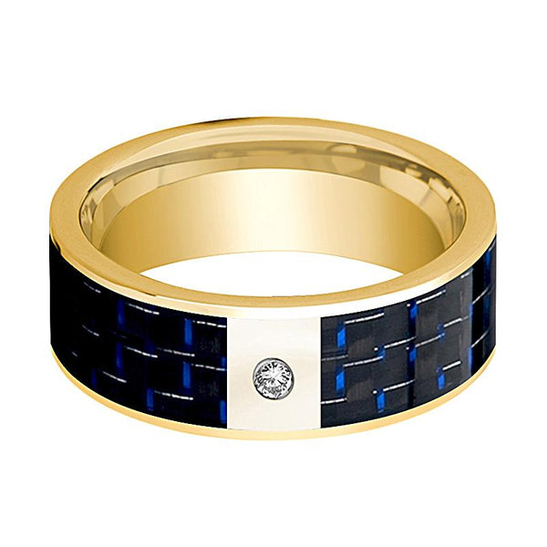 Mens Wedding Band 14K Yellow Gold and Diamond with Blue & Black Carbon Fiber Inlay Flat Polished Design - AydinsJewelry