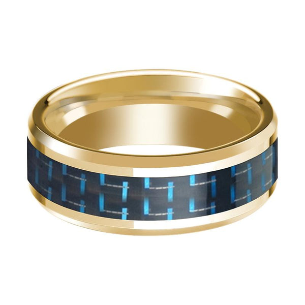 Black & Blue Carbon Fiber Inlaid 14k Yellow Gold Polished Wedding Band with Beveled Edges - 8MM - Rings - Aydins_Jewelry