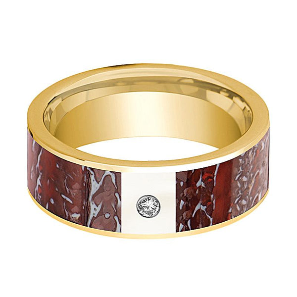 ADZE Men's 14k Yellow Gold Wedding Ring with Diamond and Red Dinosaur Bone Flat Polished Design - 8MM - Rings - Aydins_Jewelry