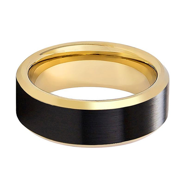 JULIAN Black Brushed Men's Tungsten Wedding Band with Gold Beveled Edges & Interior - 8MM - Rings - Aydins_Jewelry