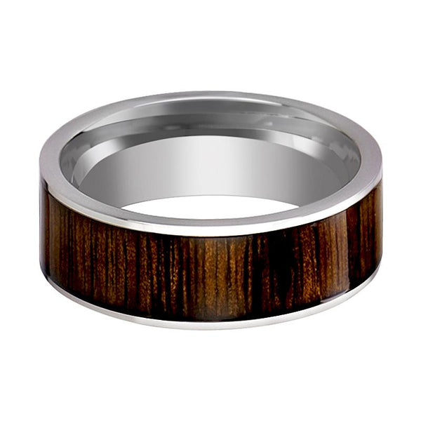 Flat Tungsten Wedding Band with Black Walnut Wood Inlay Polished Finish - 8MM - Rings - Aydins_Jewelry