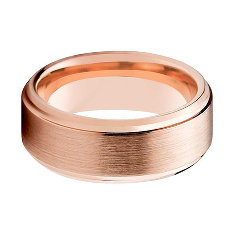 Rose Gold Couple Matching Wedding Band Brushed Finish & Beveled Edges