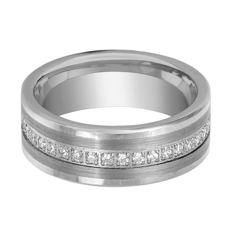 Flat Tungsten Eternity Wedding Ring for Men with Cubic Zirconia in Brushed Center - 8MM - Rings - Aydins_Jewelry