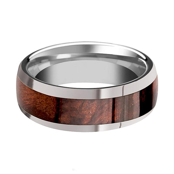 Tungsten Wood Ring - Redwood Inlay - Tungsten Wedding Band - Polished Finish - 8mm - Tungsten Carbide Wedding Ring - AydinsJewelry