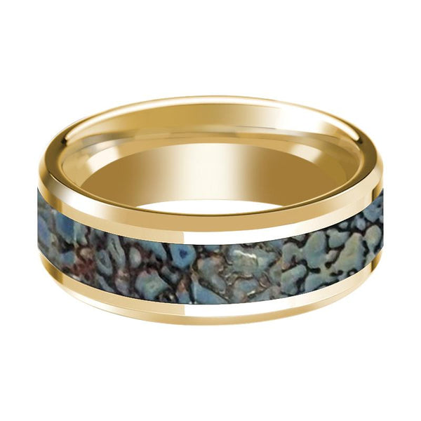 CORYTHOSAURUS  Blue Dino Bone Inlaid 14k Yellow Gold Wedding Band for Men with Bevels - 8MM - Rings - Aydins_Jewelry