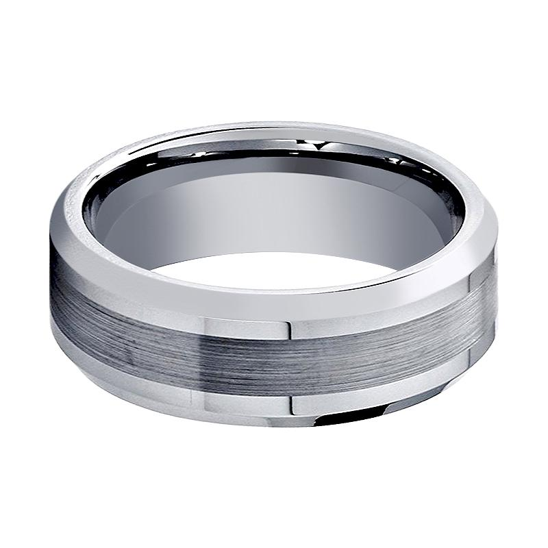 Man or Ladies Cobalt Brushed Center Shiny Grooved Edge Wedding Band Ring 8mm