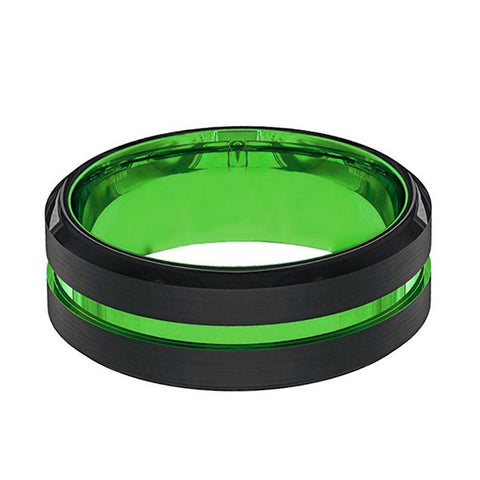 Image of Acid Green Tungsten Men's Wedding Band - AydinsJewelry