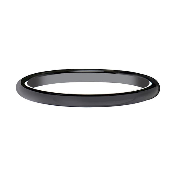 ALESSIA Black Ceramic Ring Domed Shaped Wedding Band for Women - Rings - Aydins_Jewelry