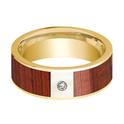 Mens Wedding Ring Polished 14k Yellow Gold Flat Wedding Band with Padauk Wood Inlay & Diamond - 8mm - AydinsJewelry