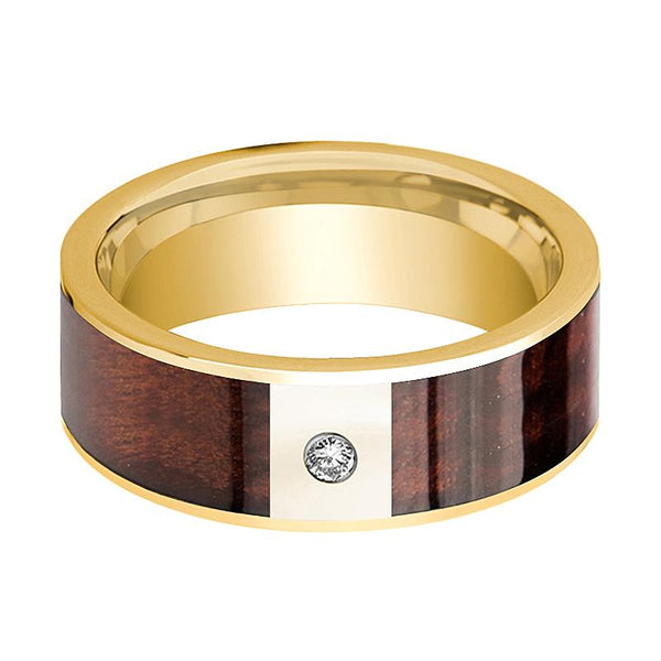 Mens Wedding Band Polished 14k Yellow Gold Flat Wedding Ring with Red Wood Inlay & Diamond - 8mm - AydinsJewelry