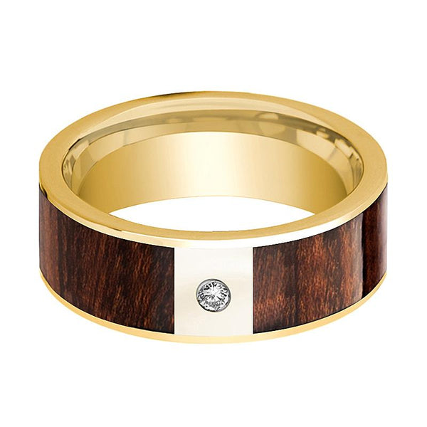 Carpathian Wood Inlaid Men's 14k Gold Wedding Band with White Diamond in Center - 8MM - Rings - Aydins_Jewelry
