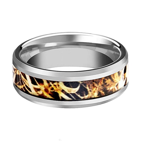 Image of Camo Wedding Band - Silver Tungsten - Leaves Grassland - Tungsten Wedding Band - Beveled - Polished Finish - 8mm - Tungsten Wedding Ring - Rings - Aydins_Jewelry