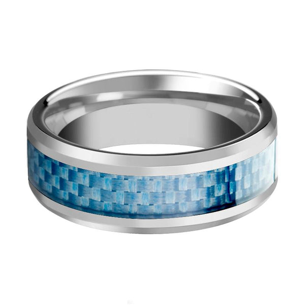 Blue Carbon Fiber Inlaid Tungsten Couple Matching Ring with Beveled Edges - 4MM - 10MM - Rings - Aydins_Jewelry