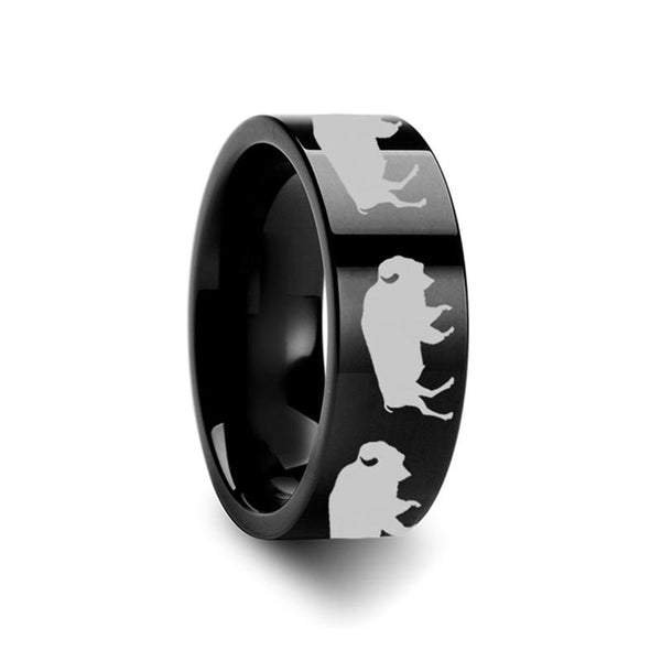 Animal Design Buffalo Print Laser Engraved Flat Polished Tungsten Wedding Band for Men and Women - 4MM - 12MM - Rings - Aydins_Jewelry