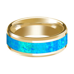 Blue Opal Inlay Beveled Edge Mens Wedding Band 14K Yellow Gold Polished Design - AydinsJewelry