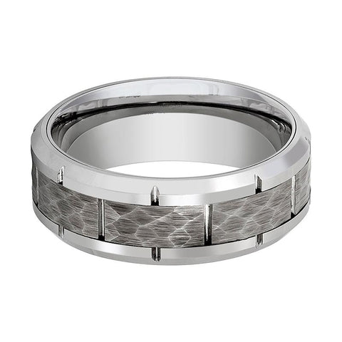 Image of Aydins Mens Tungsten Wedding Band Silver Hammered Center 8mm Tungsten Carbide Ring - Rings - Aydins_Jewelry