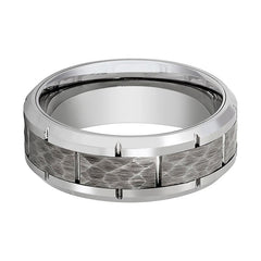 Aydins Mens Tungsten Wedding Band Silver Hammered Center 8mm Tungsten Carbide Ring - AydinsJewelry