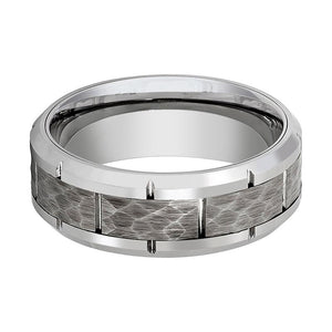 Aydins Mens Tungsten Wedding Band Silver Hammered Center 8mm Tungsten Carbide Ring - Rings - Aydins_Jewelry