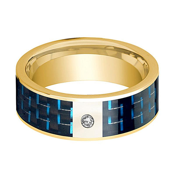 Black and Blue Carbon Fiber Inlaid Men's 14k Gold Wedding Band with Diamond in Center - 8MM - Rings - Aydins_Jewelry