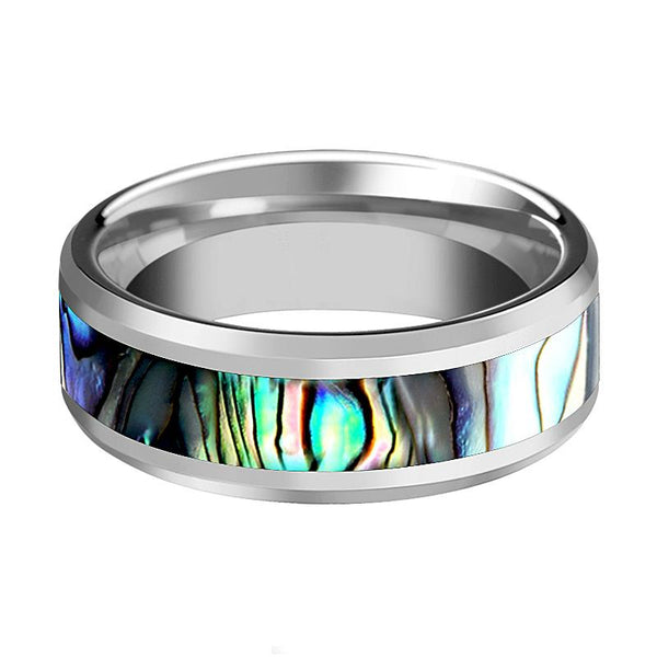 Beveled Tungsten Couple Matching Ring with Mother of Pearl Inlay - 4MM to 10MM - Rings - Aydins_Jewelry