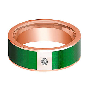 Flat Polished 14k Rose Gold Men's Wedding Band with Diamond and Textured Green Inlay - 8MM - Rings - Aydins_Jewelry