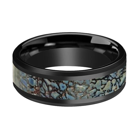 AJAX Black Ceramic Couple Wedding Band Blue Dinosaur Bone Inlay Polished Finish - Rings - Aydins_Jewelry