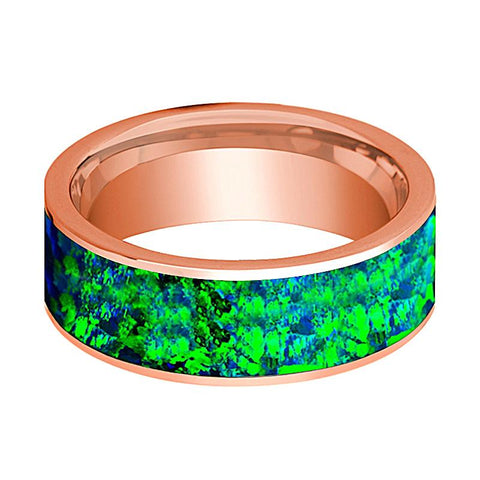 Image of Flat Polished 14k Rose Gold Wedding Band for Men with Emerald Green and Sapphire Blue Opal Inlay - 8MM - Rings - Aydins_Jewelry