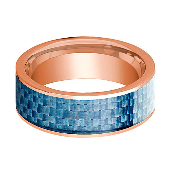 Blue Carbon Fiber Inlaid Flat Polished 14k Rose Gold Wedding Ring for Men - 8MM - Rings - Aydins_Jewelry