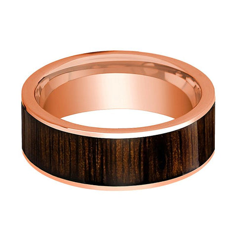 Image of Black Walnut Wood Inlay Men's 14k Rose Gold Wedding Band Flat Polished - 8MM - Rings - Aydins_Jewelry