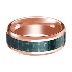 14K Rose Gold Wedding Ring with Black & Green Carbon Fiber Inlay Beveled Polished Design - AydinsJewelry