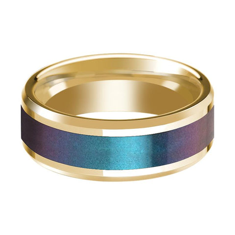 Image of Blue/Purple Color Changing Inlaid Men's 14k Yellow Gold Polished Wedding Band with Beveled Edges - 8MM - Rings - Aydins_Jewelry