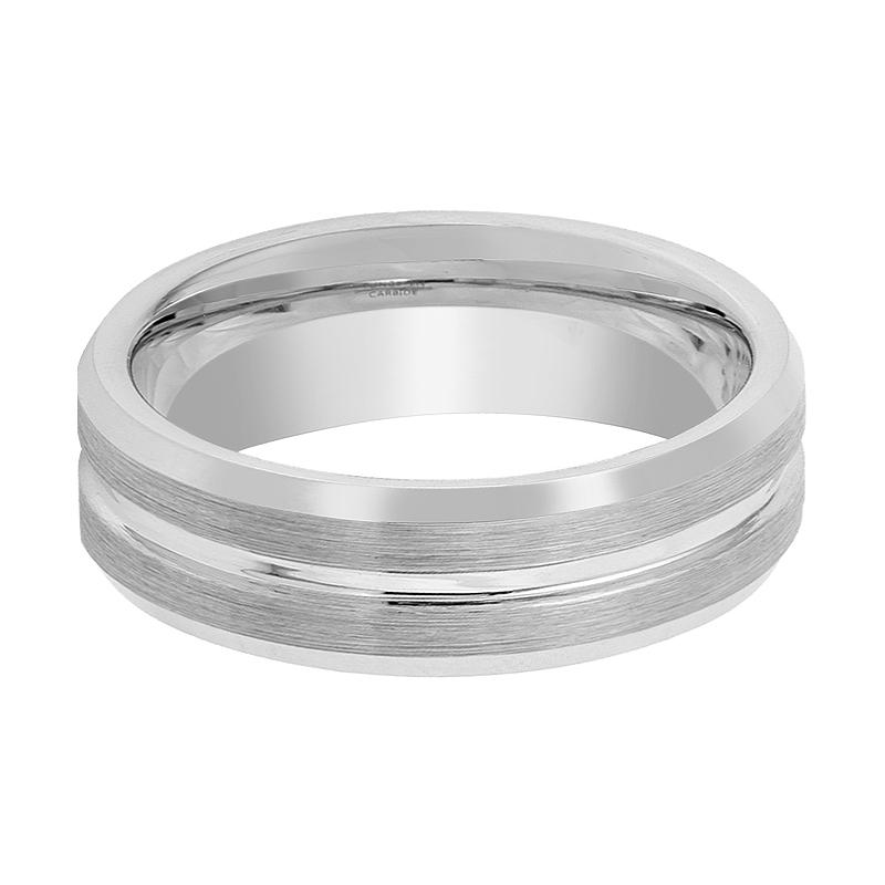 Silver Brushed Men's Tungsten Wedding Band with Grooved Center & Beveled Edges - 7MM - 9MM