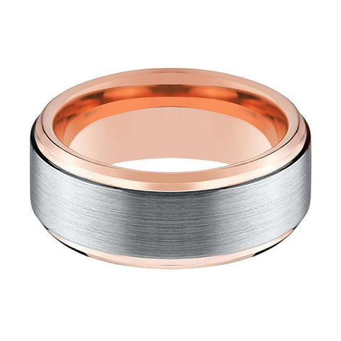 Image of Tungsten Wedding Band - Men and Women - Comfort Fit - Rose Gold & Silver Brushed Beveled Edge - Tungsten Carbide Wedding Ring -  4mm - 6mm - 8mm - 10mm - AydinsJewelry