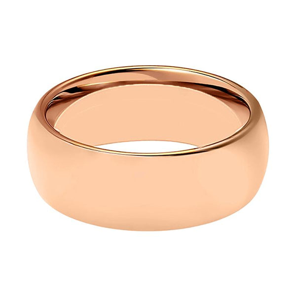 Domed Rose Gold Tungsten Couple Matching Wedding Ring Polished Finish - 2MM - 5MM - 7MM - Rings - Aydins_Jewelry