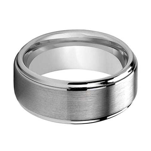 Image of Beveled Men's Tungsten Wedding Band with Brushed Center and Polished Step Edges - Rings - Aydins_Jewelry