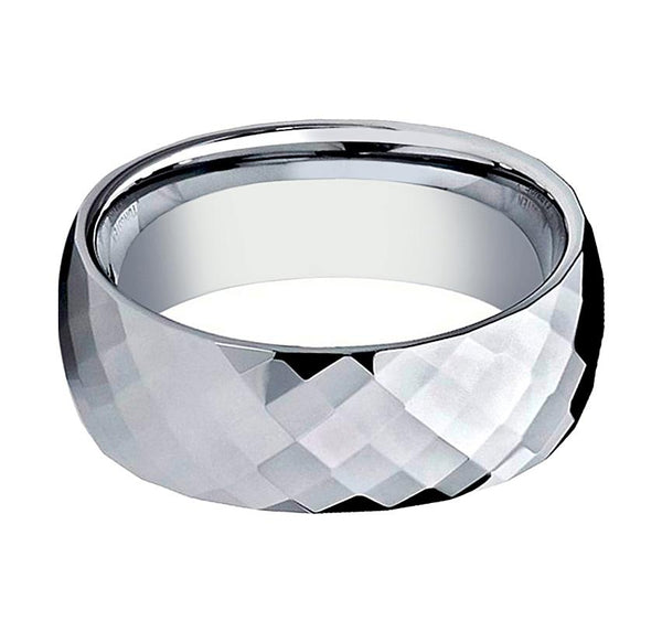 Domed Couple Matching Tungsten Ring with Shiny Polished Diamond-Shaped Faceted Center - 6MM - 8MM - Rings - Aydins_Jewelry