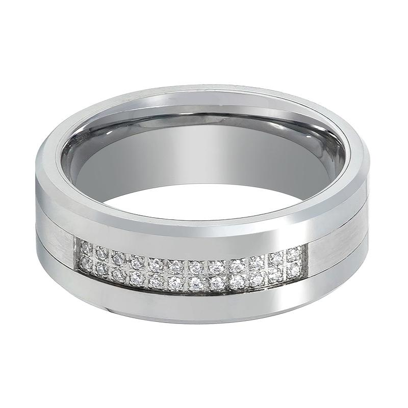 Men's Tungsten Wedding Ring with Setting of 24 Cubic Zirconia Stones - 8MM