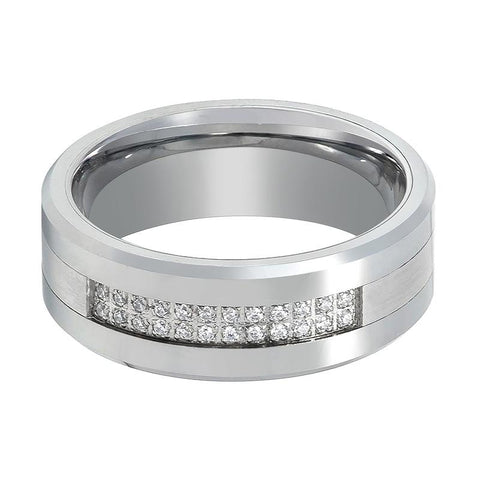 Image of Men's Tungsten Wedding Ring with Setting of 24 Cubic Zirconia Stones - 8MM