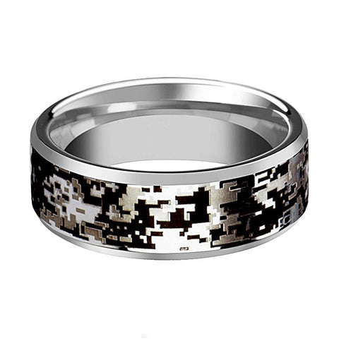Image of Camo Wedding Band - Silver Tungsten - Digital Camouflage - Tungsten Wedding Band - Beveled - Polished Finish - 8mm - Tungsten Wedding Ring - Rings - Aydins_Jewelry